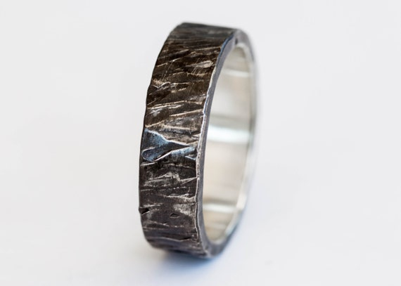 Sterling silver textured mens band, sterling silver wedding band, mens wedding band, textured ring