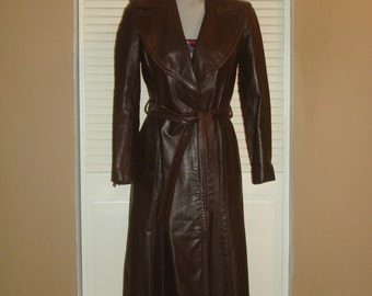 Vintage Dark Brown Leather Wrap Belted SPY Trench Coat~XS~