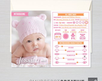 New Baby Infographic - Customizable Photo Card Birth Announcement