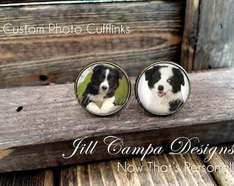 Photo Cufflinks - Wedding Cufflinks, Picture Cuff Links, custom cuff links, FOB cuff links, photo cufflinks, memorial cufflinks, your photo