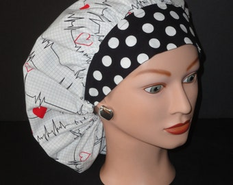 The Perfect Sized Bouffant Scrub Hat...Calling All Nurses EKG White w/Black Dotted Band...Surgical Hats/OR Scrub Hats