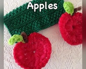 Apple Dish Scrubbies/Knit Dishcloth Gift Set - 2 Red Crocheted Nylon Scrubby Apples & 1 Cotton Hand-Knit Dishcloth - Gift for Her