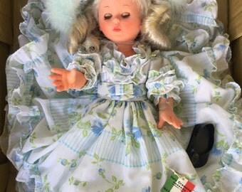 "Vintage 1966 Italia Cremina frilly doll from Italy 14"""