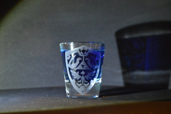 Hyrule Hylian shield etched shot glass fan art