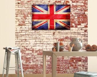 """British Flag Wall Art on Distressed Solid Wood - 32"""" x 21"""" - Rustic Distressed UK Flag, Union Jack, England Wood Flag"""