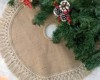Christmas Tree Rock - Sackleinen Baum-Rock - Weihnachtsdekoration - Baum-Rock mit Fransen - 40