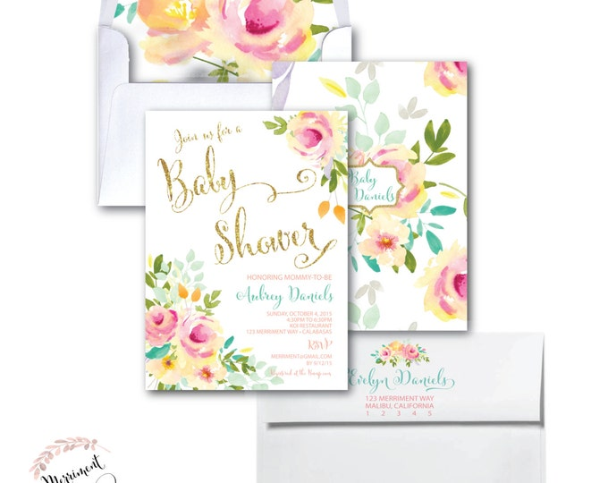 Baby Shower Invitation //Roses /Peonies //Peony//Baby Sprinkle Invitation // Pink // Gold Glitter // Yellow// MALIBU COLLECTION