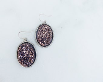 Rose Gold and Silver Druzy Dangle Earrings / Faux Druzy / Druzy Earrings / Dangle Earrings / Sterling Silver / Fashion Earrings