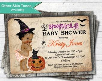Halloween baby shower invitation. Vintage African American pumkin black cat. Spooktacular baby shower Printable digital file. HA011