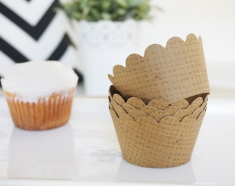 BURLAP Cupcake Wrappers - Set of 50