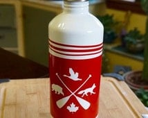 Stainless Steel; Water Bottle; Approx. 3 x 8 in. Camping Theme !!!