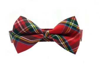 Classic Look Red Tartan/Plaid Dog Collar Bow Tie Set - Removable Bowtie