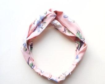 Phyllis Fabric Headband - Turban headband - Floral print - Boho headband - Womans headband - Adult headband - Pink fabric headband
