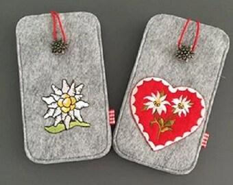 Filz Smartphonehülle ( zB Iphone 6 ) Handytasche in grau mit Trachten Herz oder mit Edelweiß
