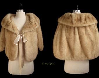 Cutest Pastel Blonde Pale Brown Ribbon MINK FUR Capelet Cape Stole Coat Jacket ~ Bridal ~ Winter Wedding