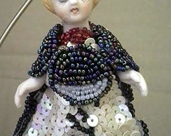 Original Hand Made Sequins Beads Decorative Angel Fan Pull Lamp Ornament