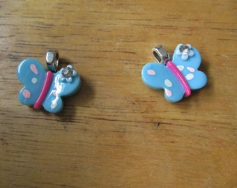 Sweet Butterfly Pendants Your Choice of Dark Pink  Light Pink or Blue