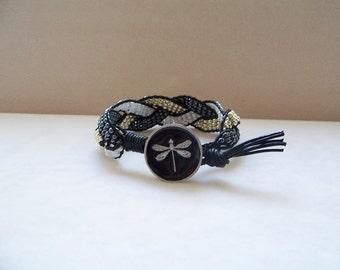 Metallic Firefly Beaded Braided Leather Wrap Cuff Bracelet, Beaded Leather Cuff, Firefly Bracelet, Firefly Jewelry, Leather Jewelry