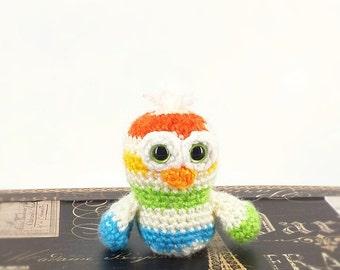 Owl/Baby Owl/Crochet Owl/Ready to Ship/Striped Owl/Amigurumi/Soft Toy/Barn Animal/Plush Toy/Barn Nursery Decor/Handmade Toy