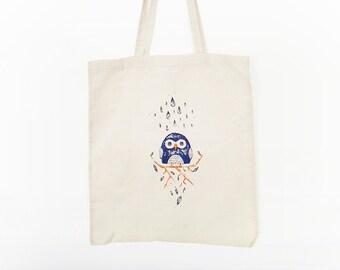 Owl screen printed bag