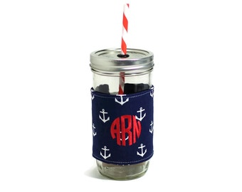 Navy with White Anchors Mason Jar Tumbler 24 oz | Mason Jar To Go Cup | BPA Free Lid and Straw | Monogrammed | Nautical Anchors
