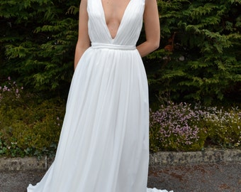 Grecian goddess wedding dress - custom made flattering 'Serena' gown, plunging neckline, backless, pleated, A-line bridal style