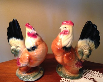 Vintage Royal Copley twin hen figurines from the 50s