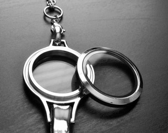 Lanyard Floating Locket-30mm (Large)-Silver Stainless Steel-Option to Add Chain-Twist Off/On Face-Gift Idea
