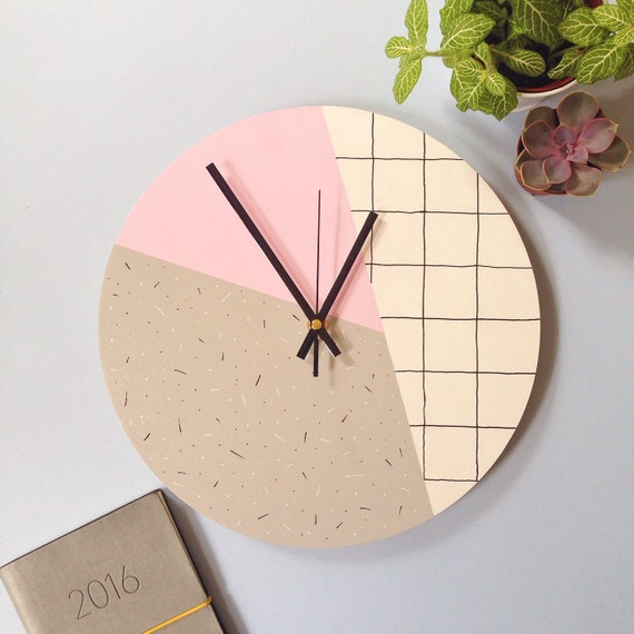 Large Wall Clock Pastel Pink Grey White By Showyourbonesshop