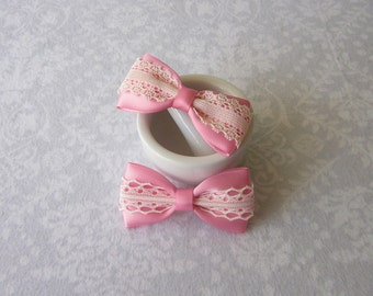 Medium Pink Satin & Off-White Ivory Lace Bow, Girls Hair Accessory, Barrette, Ponytail, Clip, Toddler, Flower Girl, School, Valentine's