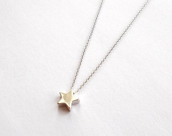 Dainty Silver Star Necklace - Thin Dainty Small Minimal Style Simple Cute Everyday Jewellery - Gift - Short Necklace or Choker