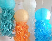 Jellyfish Paper Lanterns- Mermaid party Decorations-Under the Sea Party-Nemo Party-Set of 4- tangerine, Caribbean teal, turquoise, Birch