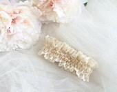 Nude lace wedding garter, wedding garter, pearl wedding garter, ruffle wedding garter, special wedding garter