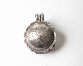 Tunisian old round silver talisman box pendant which opens