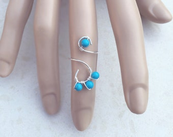 Turquoise Ring, Sterling Silver Ring, Midi Ring, Boho Ring, Bohemian Ring, Blue Ring, Fashion Ring, Beach Jewlery, Midi Ring, Knuckle Ring