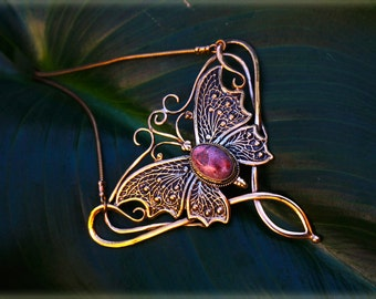 Romantic ButterFly Enchantment/ Brass Wire and Opal Necklace