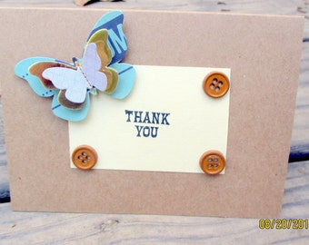 Thank you card-Rustic-Blue and brown Butterfly greeting card-simple card-upcycled card-custom card-personalized-handmade-ships same day-cute