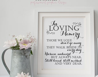 In Loving Memory, Printable Sign for Wedding Memorial Table, Those We Love Don't Go Away Quote, 8x10 Memory Printable