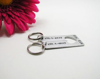 Roman Numeral Keychains - Engraved Keychains - Couples Keychain - His And Her Keychain - Personalized Keychain Set - Wedding Key Chain Set