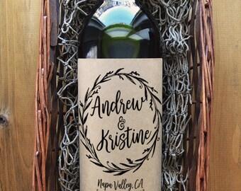 Wedding Wine Label - Personalized Wedding Wine Label - Custom Wedding Wine Label - Pack of 4 Labels