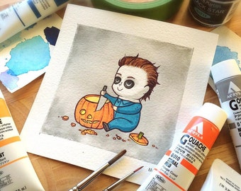 Michael Myers Halloween Watercolor PRINT by Michelle Coffee