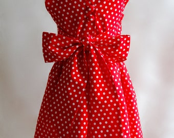 SALE for 3-4 Years, Minnie Mouse Dress, Polkadot Dress, Girls Party Dress, Red Girls Dress, Cotton Dress, Girl's Dress, Girl's Clothing
