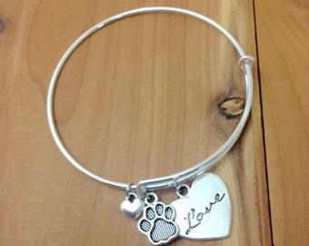 Charm Bracelet - Animal Lover - Animal Rescue - I Love My Pet -  Dog Owner - Cat Lady - Adjustable Bangle Bracelet - Dog Lover