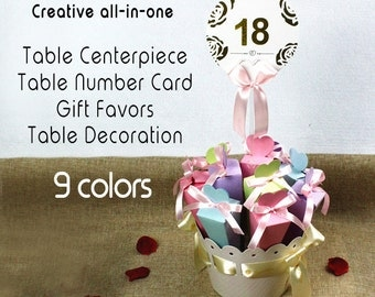 Set of 5 Wedding Table Centerpiece + Table Number holders + Gifts Favors   Wedding Decors