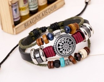 Handmade Adjustable Leather Bracelet With Wood Beads and Metal Charms Hemp Rope Braclet CH-18