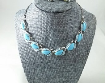 Vintage Thermoset Necklace and Earring Demi Parure Robin Egg Blue & Rhinestone Choker Jewelry Set