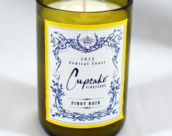 Cupcake Pinot Noir Soy Candle - Handcrafted from Recycled Wine Bottle