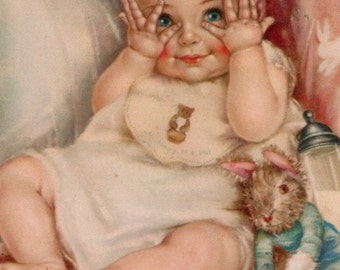 Cute peekaboo baby girl bunny illustration digital download printable instant image