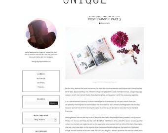 "NEW Premade Blogger Template - Clean Blog Design - Blog Layout -  Blogspot Minimalist Theme - Black and White Blog Template ""UNIQUE"""