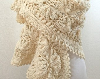 Crochet scarf, Shawl scarf,  Winter accessories, Gift for her, Acrylic yarn, Wrapping Ladies Womens Fashion - Ready to Ship